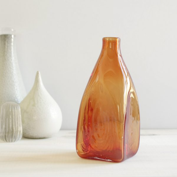 Square Shaped Handblown Glass Bottle