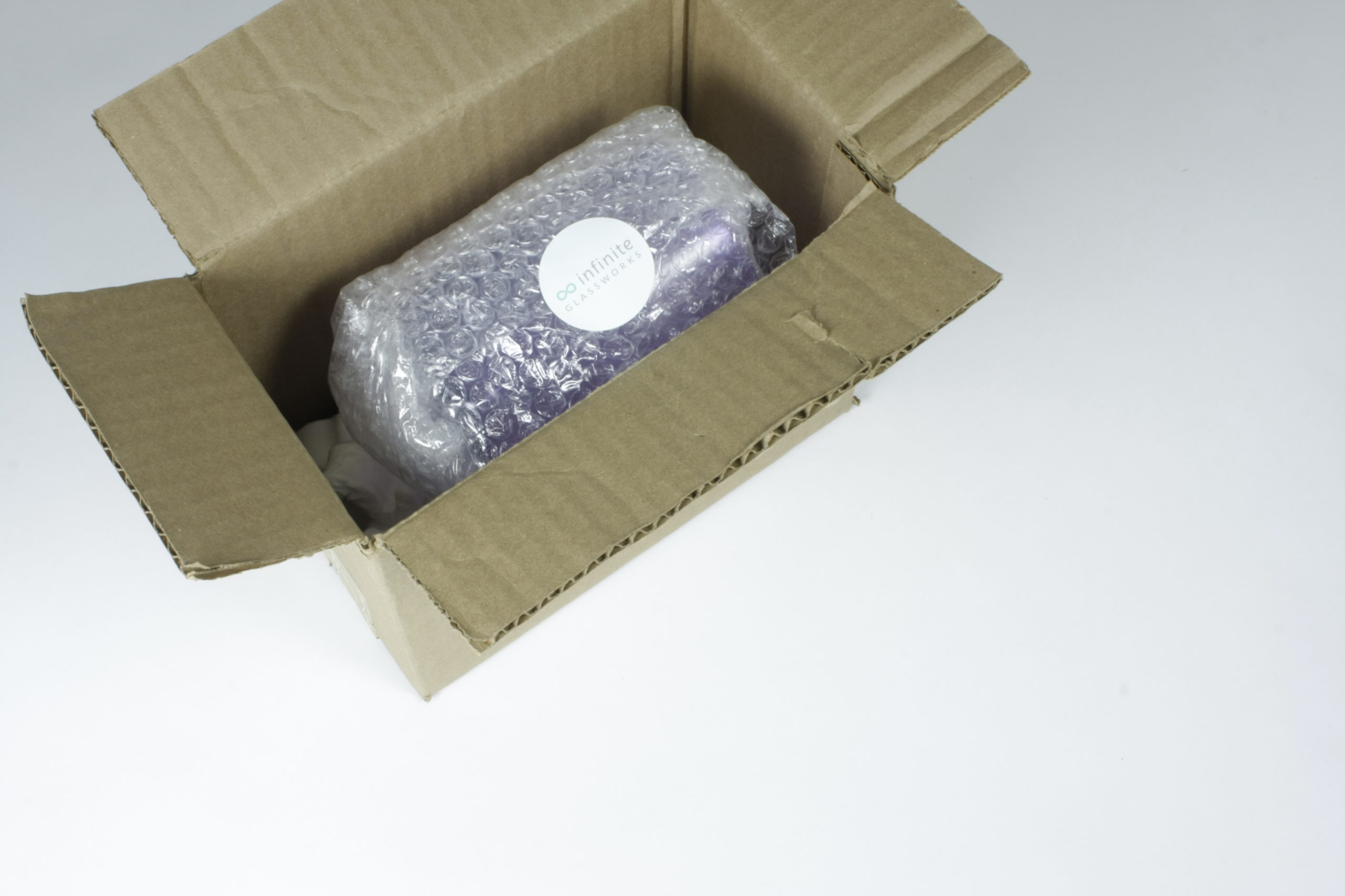 Cardboard Box with Packed Glass
