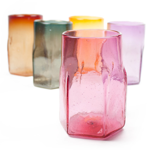 Hexagon Shaped Handblown Glass Tumblers in Bright Colours