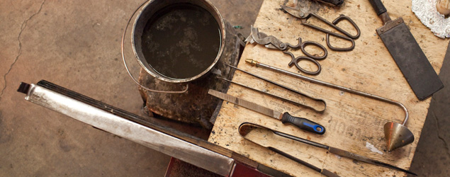 Glassblowing Tools on a Bench