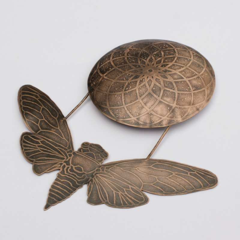 Etched Copper Cicada with Geometric Circle