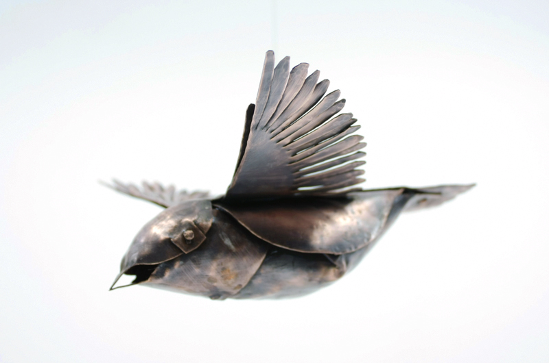 Forged Copper Flying Bird With WIngs