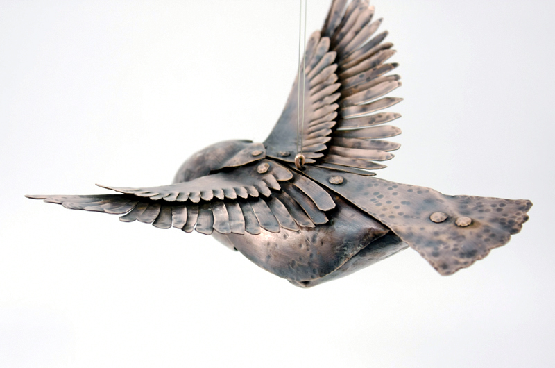 Copper Flying Bird with Hammered Texture