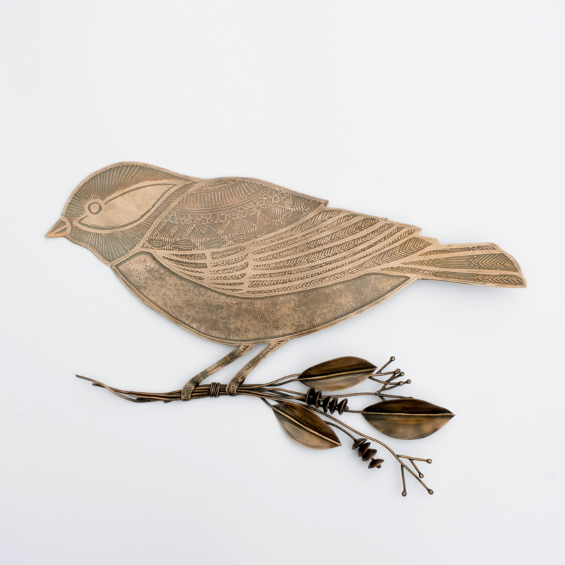 Etched Copper Bird with Frond Bouquet