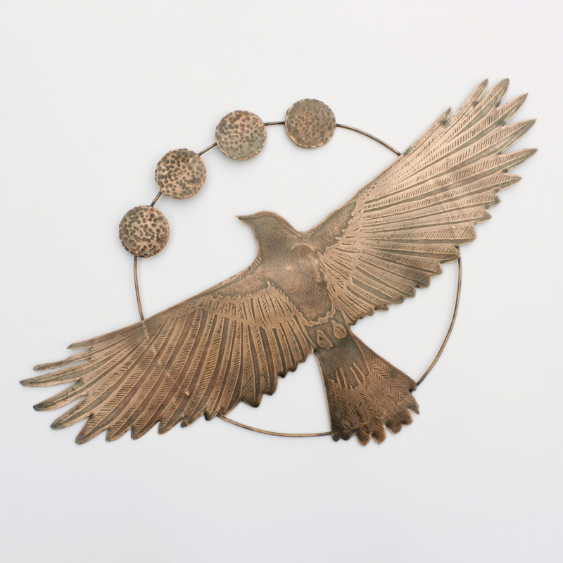 Etched Copper Crow with Moons