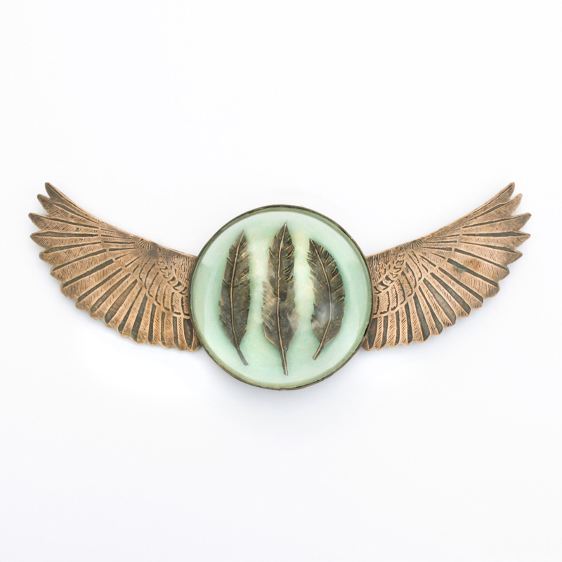 Copper Wings with Feather and Glass