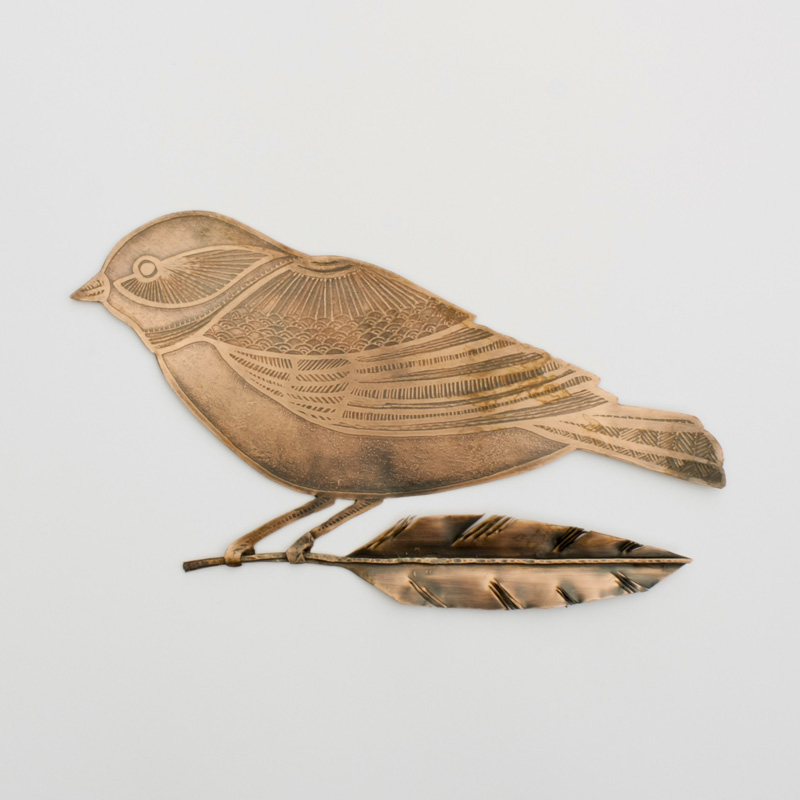 Etched Copper Bird with Feather