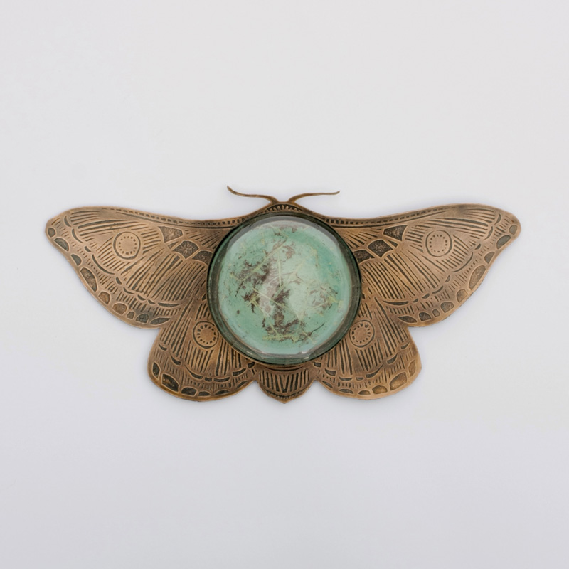 Copper Moth with Abstract Designs and Glass
