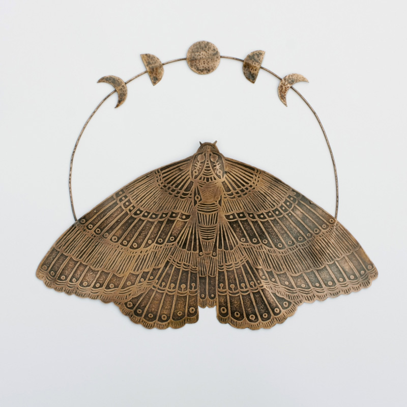 Etched Copper Moth with Moons