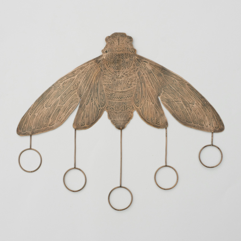 Etched Copper Cicada with Circles