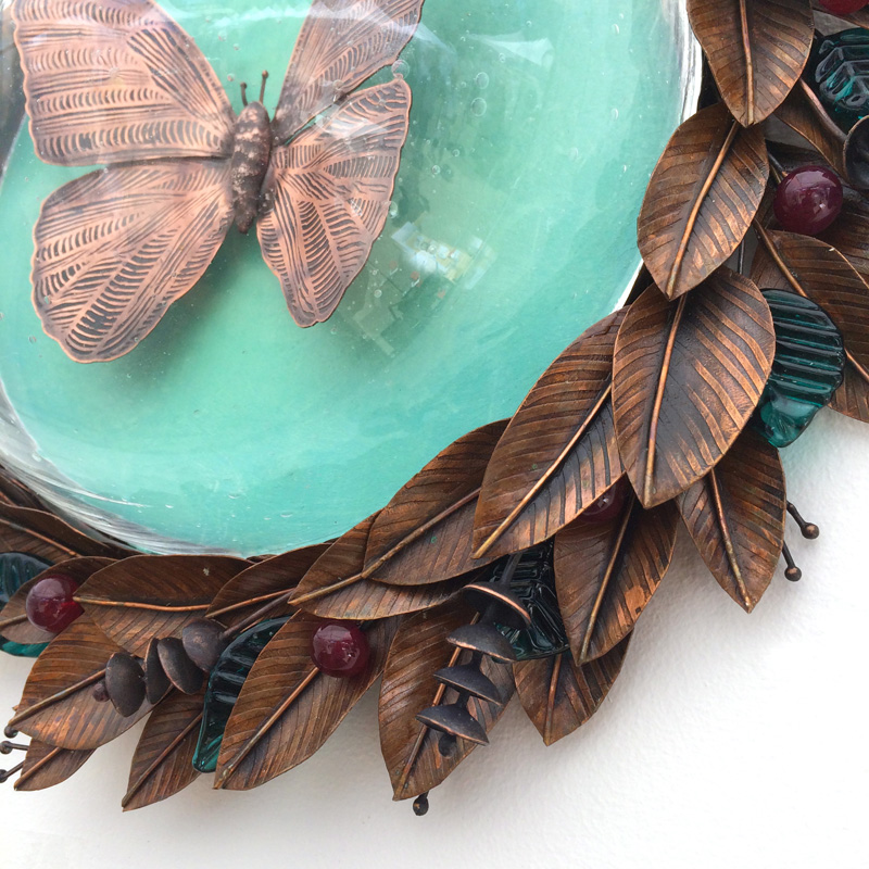 Copper Butterfly with Leaves and Glass