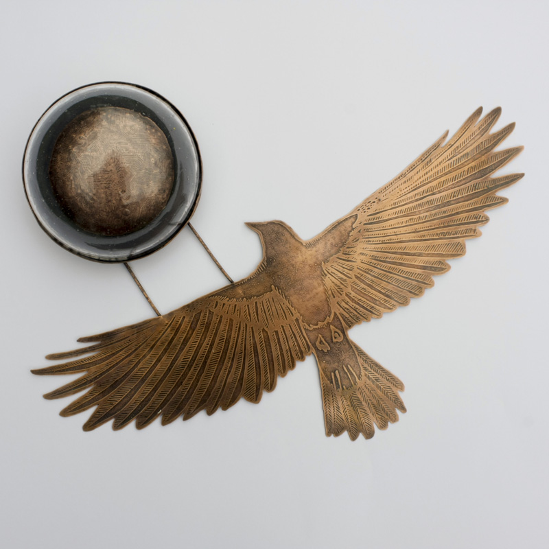 Copper Crow with Moon and Glass