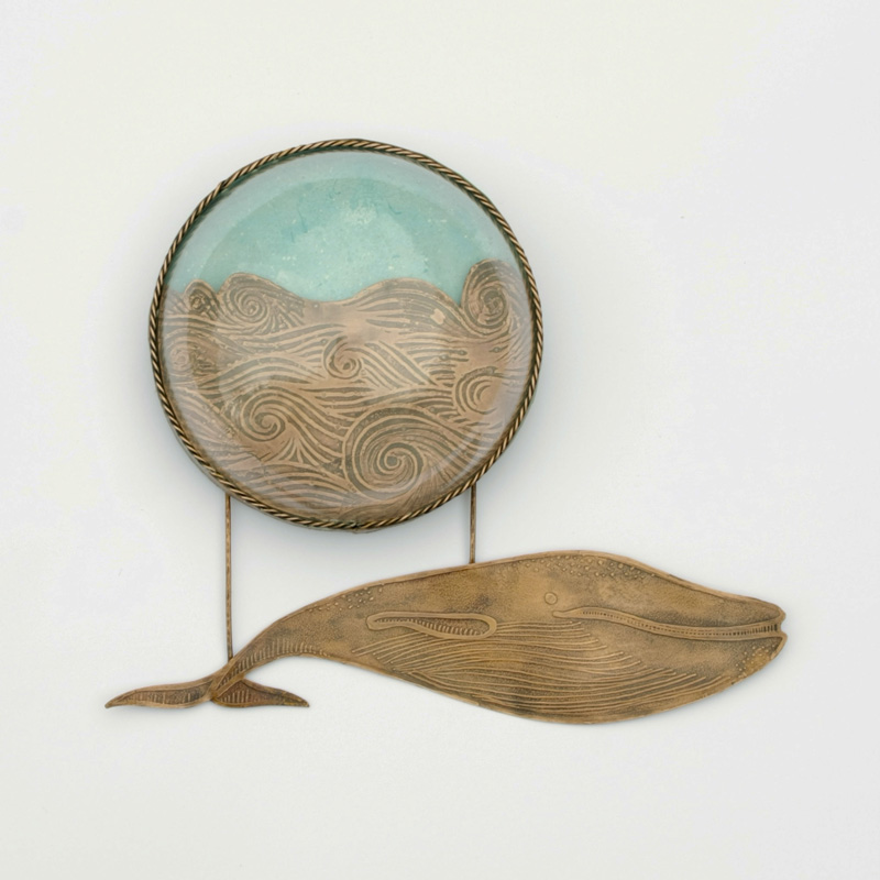 Copper Whale with Waves and Glass