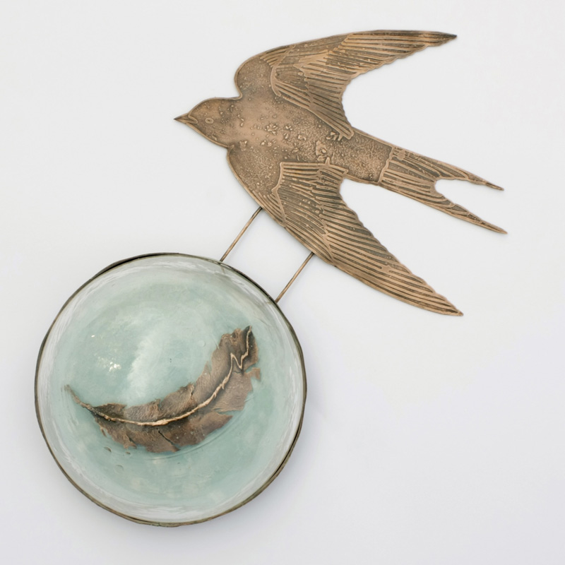 Copper Swallow with Feather and Glass