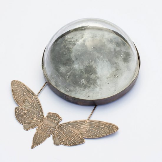 Copper Cicada with Glass Moon