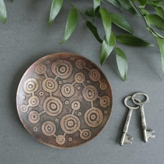 Satellite Design Etched Copper DIsh