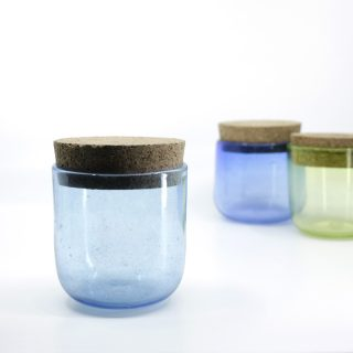 Aqua Blue Glass Jar with Cork Lid