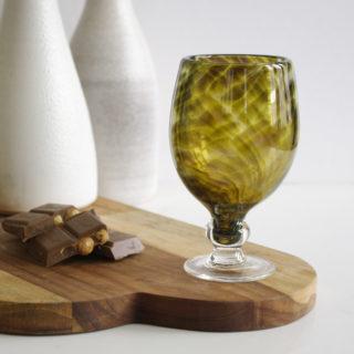 Golden Olive Glass Wine Goblet
