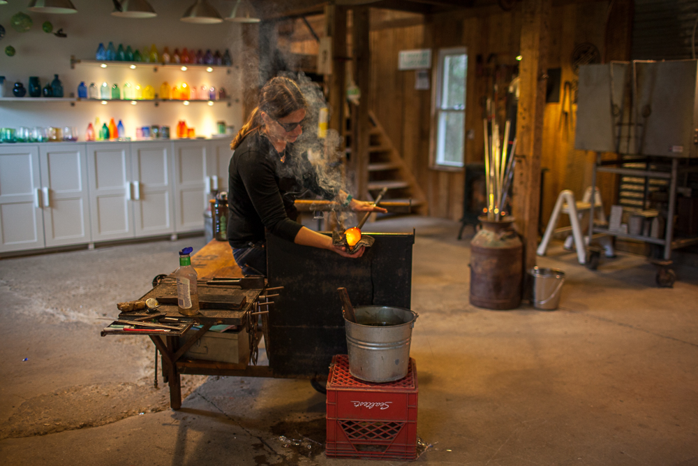 Woman Glassblowing