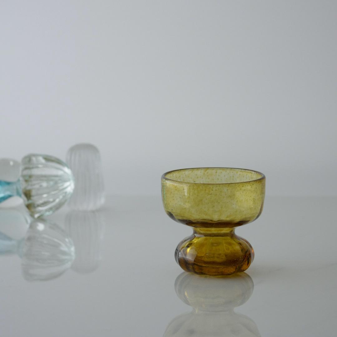 Pedestal amber handblown glass