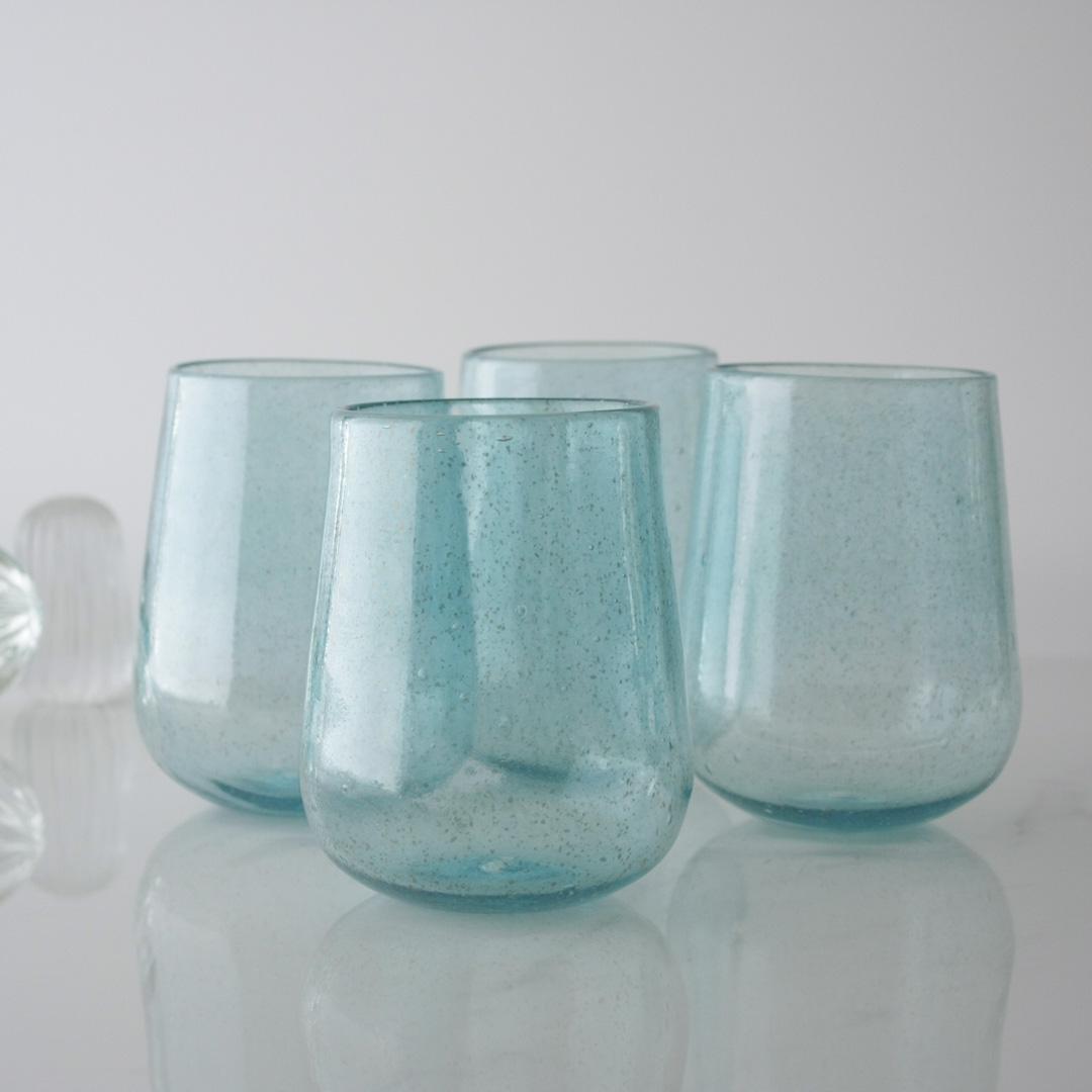 Set of Four Blue Handblown Glasses